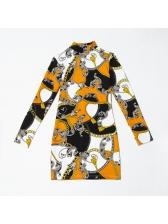 Printed O Neck Long Sleeve Bodycon Dress