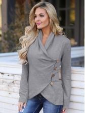 Single-Breasted V Neck Asymmetrical Blouse For Women