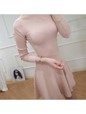 Elegant Bateau Neck Fitted Knitted Dress