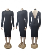 Sexy Backless Long Sleeve Solid Bodycon Dress