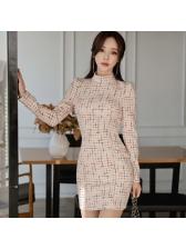 Fashion Check Stand Collar Bodycon Dress