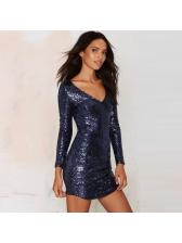 Euro V Neck Fitted Sequin Dark Blue Long Sleeve Dresses