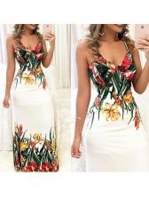Sexy Flower Print V Neck Maxi Dresses