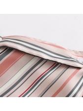Striped Turndown Neck Loose Woman Blouse