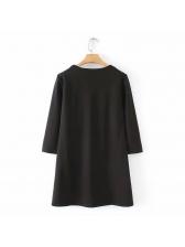 Crew Neck Pockets Black Dress