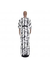 V Neck Letter Tie-Wrap Maxi Dress