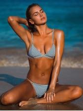 Striped Spaghetti Straps Bikini Sets