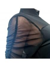 Mock Neck Gauze Patchwork Long Sleeve T-Shirt
