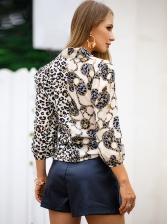 Keyhole Neck Leopard Print Colorblock Blouse