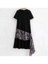 Stylish Printed Ribbon Black Short Sleeve Dresses