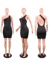 Backless Diamond Off Shoulder Sleeveless Bodycon Dress