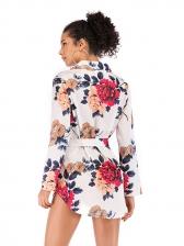 Spring Printed Binding Bow Loose Blouse