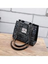 Easy Matching Tweed Metal Lock Shoulder Bag