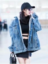 Euro Fashion Removable Hooded Denim Jacket