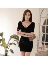Sexy V Neck Bodycon Velvet Dress