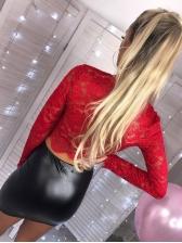Hot Sale Lace Detail Crop Blouse
