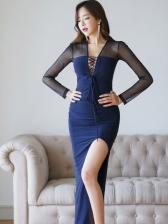 Sexy Patchwork Tie-wrap Split Maxi Dress