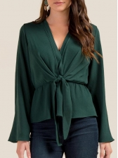 V-Neck Binding Bow Flare Sleeve Blouse