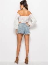 Boat Neck Hollow Out Crop White Blouse