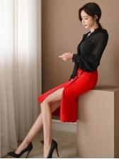 Formal Chiffon Lantern Sleeve Black Woman Suits