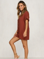 Causal Turndown Neck Pockets Solid Rompers