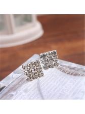 Elegant Rhinestone Square Silvery Stud Earring