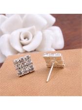Elegant Rhinestone Square Silver Stud Earring