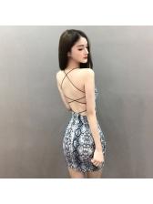 Sexy Snake Print Bodycon Backless Dress