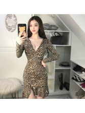 Sexy Ruffle V-neck Leopard Print Dress