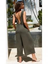 Simple Design Raped Pockets Jumpsuits