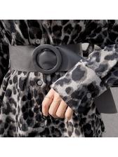 Vintage Leopard Turndown Collar Long Blouse