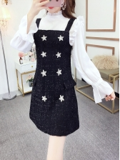 Star Design Dress With Stringy Selvedge Blouse