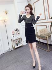 Sequin Patchwork V Neck Fitted Dresses