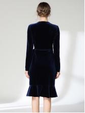 Ruffle V Neck Tie-wrap Velvet Dress