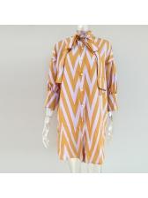 Single-breasted Binding Bow Dots Shirt Dress