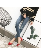 Pointed Rivet Strappy Heels For Woman