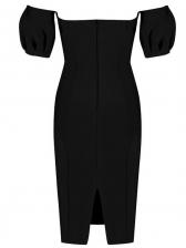 Puff Sleeve Off Shoulder Black Dress