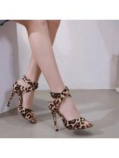 Stylish Cross Ankle-Straps Leopard Print Sandals