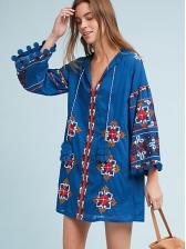Bohemian Tassels Loose Embroidery Dress