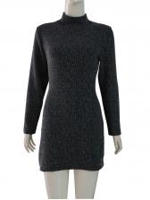 Euro Mock Neck Sequin Long Sleeve Dresses
