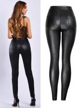 Single-Breasted Black Pu Long Pencil Pants