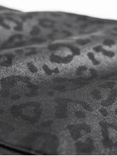High Waist Leopard Print Black Pu Pants