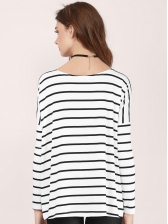 Crew Neck Loose Long Sleeve Striped T-Shirt