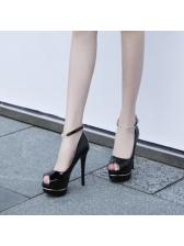 Peep-Toe Ankle Straps Platform Pumps