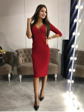 V-Neck Zipper Solid Fitted Long Sleeve Dresses