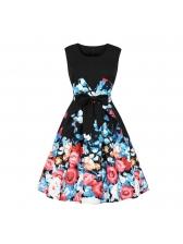 Euro Printed Bow Sleeveless Black Dresses