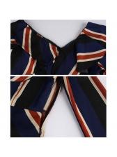 Striped Ruffles Irregular Off Shoulder Dresses