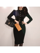 OL Style Solid Knitted Long Sleeve Button Up Dress
