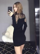 New Arrival Lace Panel Black Knitting Dresses