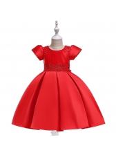 Euro Beaded Bow Satin Girls Flower Dresses